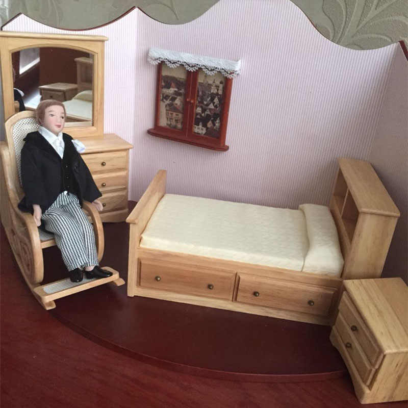 1 12 Dollhouse Furniture Toy Wooden Miniature Bed Chair Dressing Table Bedroom Sets Pretend Play Toys For Children Girls Dolls Furniture Toys Dollhouse Furnitureminiature Bed Aliexpress