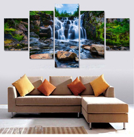 Unframed 5 Pcs Waterfall Painting Modern Home Decor Canvas Art Pictures Painting On The Wall Print Gift