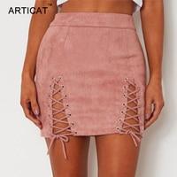 ARTICAT Sexy Lace Up Leather Suede Skirts Women Vintage Cross Zipper Split Mini Skirt Sexy High