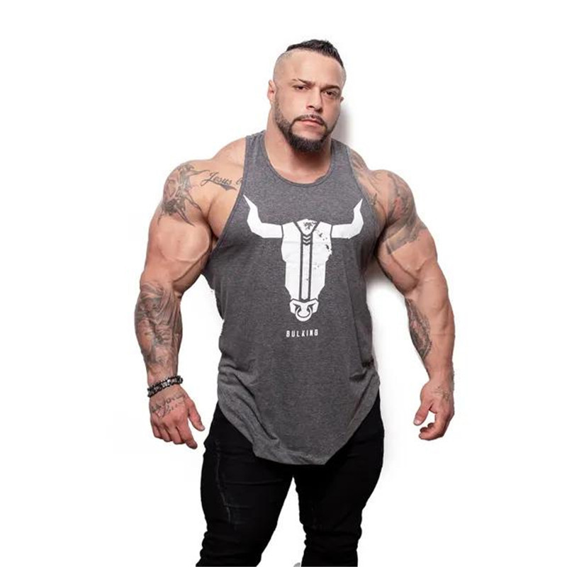 Brand Bull head printing clothing bodybuilding stringer gyms   tank     top   men fitness singlet cotton sleeveless shirt muscle vest