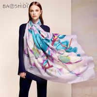 [Baoshidi] 100%ウール冬スカーフ、高級ブランドのスカーフ、エレガントなスカーフ女性、無限大正方形のショール、暖かい装飾ヒジャーブ用レディ