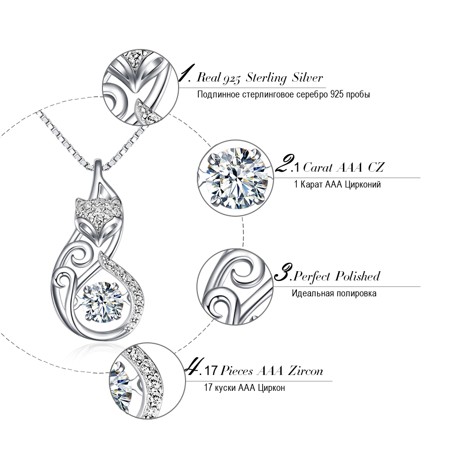 Effie Queen Crystal Women S925 Sterling Silver Necklaces Cute Fox Pendant Necklace for Women Lady Girl Effie Queen Crystal Women S925 Sterling Silver Necklaces Cute Fox Pendant Necklace for Women Lady Girl Jewelry Best Gift BN53