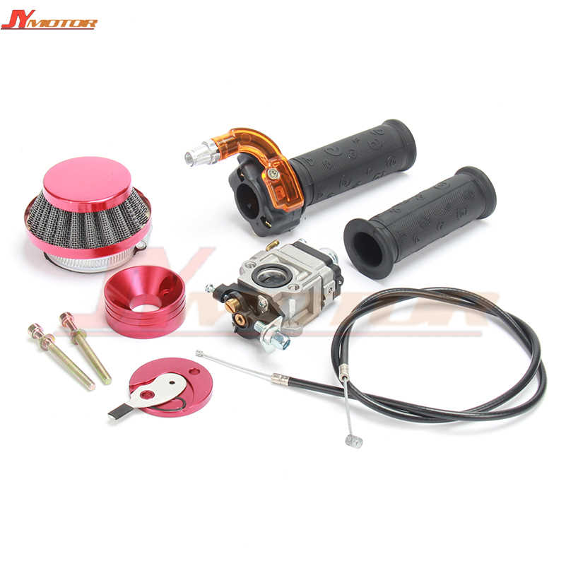 Carburetor Carb Air Filter Stack  Twist Throttle Accelerator Grip + Cable  For 47cc 49cc Mini Moto ATV Pocket Bike Motorcycle