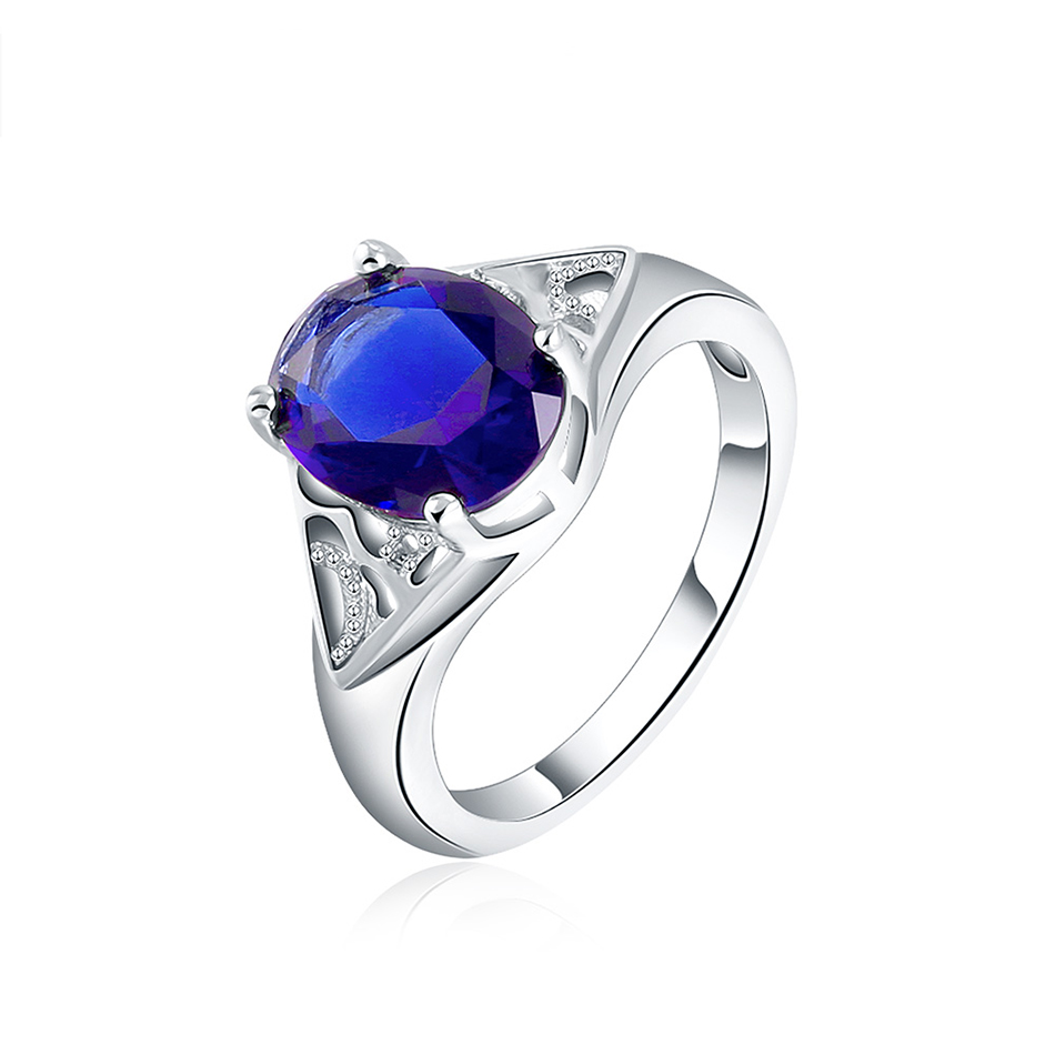 Brand White Gold Color Luxury Blue Big Stone Ring With Created Gemstone  Zircon Wedding Engagement Jewelry