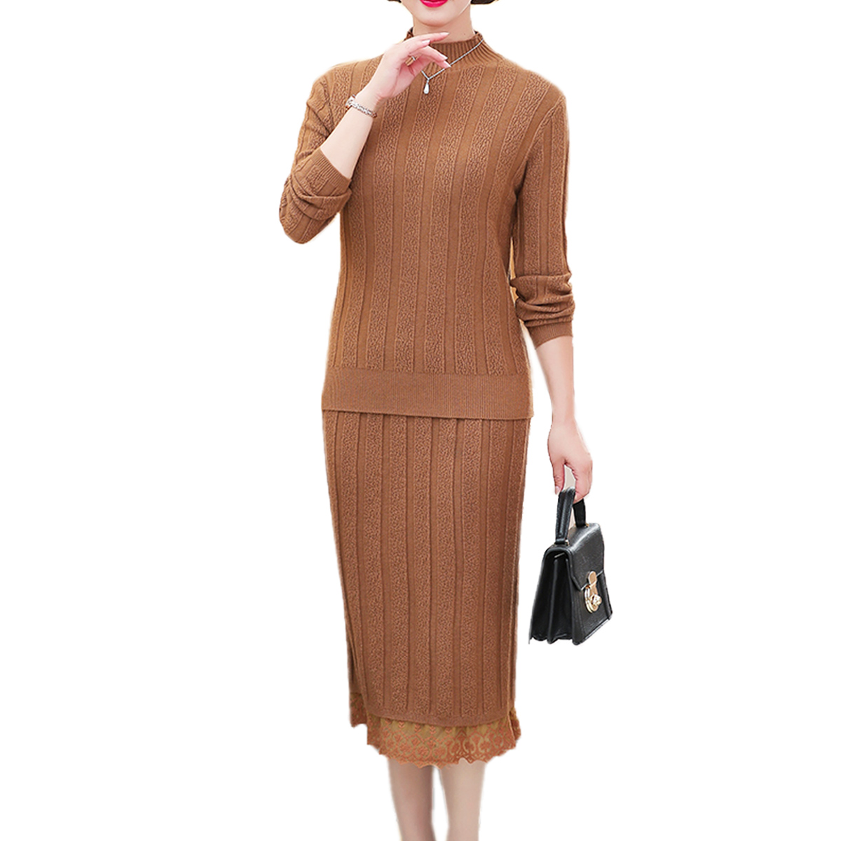 SET 2 Pieces Sweater Dresses Women 2018 Winter Lace Elegant Ladies Knitwear Knitted Dresses Tunic Robe Femme Lady Long Pullovers