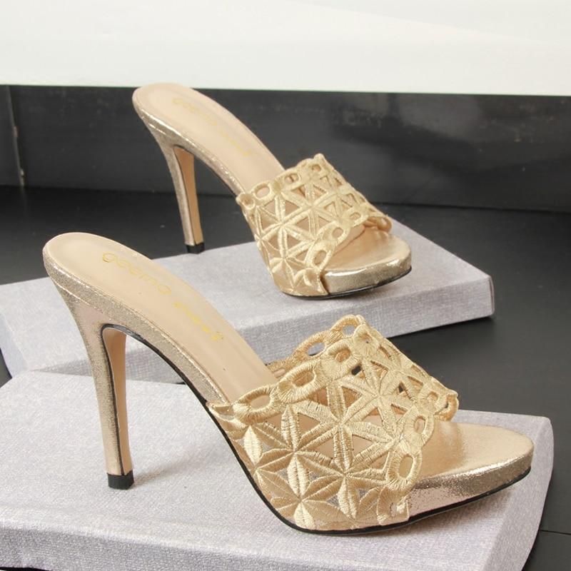 2019 Slippers Women Fashion Peep Toe Sandals Women Shoes Thin Heel Slippers Women Summer High Heel 10CM Platform Female Sandals