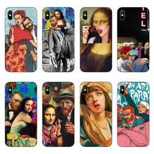 Mona Lisa funny Spoof Art Cases For Coque iPhone X 5.8 Van gogh Starry Soft TPU Phone Cover 5S SE 6 6S Plus 7 8