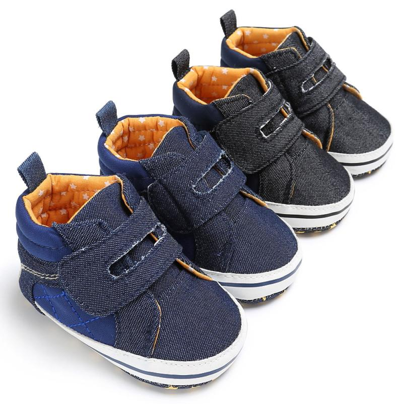 Sport Style Baby First Walkers Baby Toddler Boys Denim Cute Crib Shoes Anti-Slip Prewalker Soft Sole Shoes Scarpe da ragazzi
