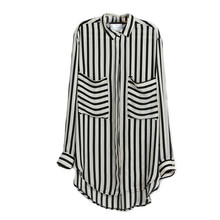 Women Blouse Long Sleeve Vertical Striped Chiffon Tops Button Down Shirt