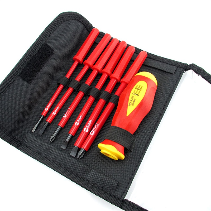 High Voltage Tools : Insulated precision screwdriver set slotted phillips v
