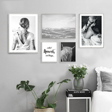 Nordic Canvas Painting Black White Figure Lady Wall Art Print Poster Modern Minimalism Living Room Bedroom Home Decor