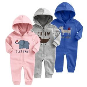 Image 2 - 2020 New Baby Autumn Winter Clothes Children Velvet Climbing Romoers Newborm Baby Boy Girls Long Sleeve Hoodie Jumpsuit Clothing