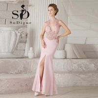 Prom Dress 2016 SoDigne Custom Made Beaded With Delicate Appliques Deep V Neck Front Slit Elegant
