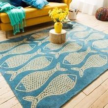 Azul do mar e peixes padrão carpet, 160*230 cm sala de estar retângulo tapete de chão, mesa de café carpet, pastoral decoração de casa tapete