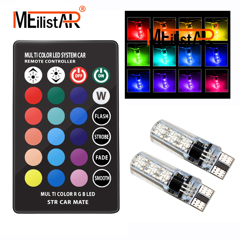 2PCS 5050 SMD RGB T10 194 168 W5W Car Dome Reading Light Automobiles Wedge Lamp RGB LED Bulb With Remote Controller Flash/Strobe цена