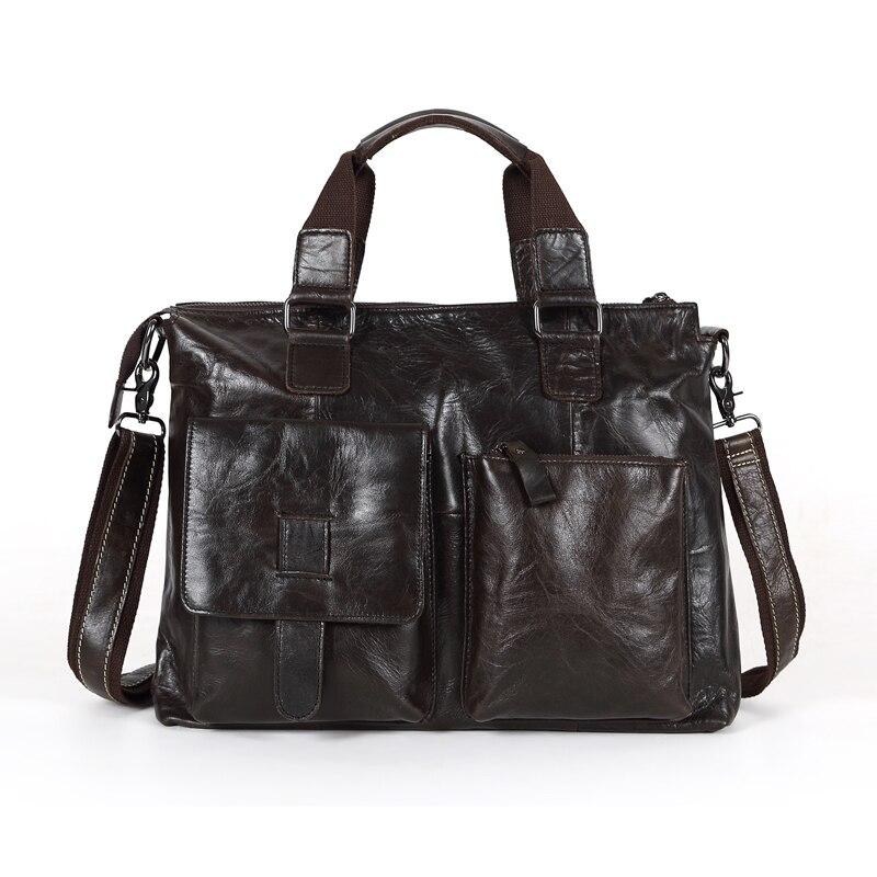 Promotion Vintage 100% Guarantee Genuine Leather Cowhide Men Messenger Bags 14'' Laptop Briefcase Portfolio #M260
