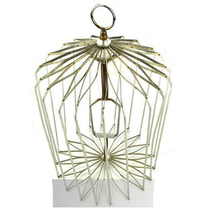 Nouveaux tours de magie de taille moyenne-Cage à oiseaux en argent mignon pour colombe apparaissant, accessoires de tour de magie de scène fantastiques 38*27 CM