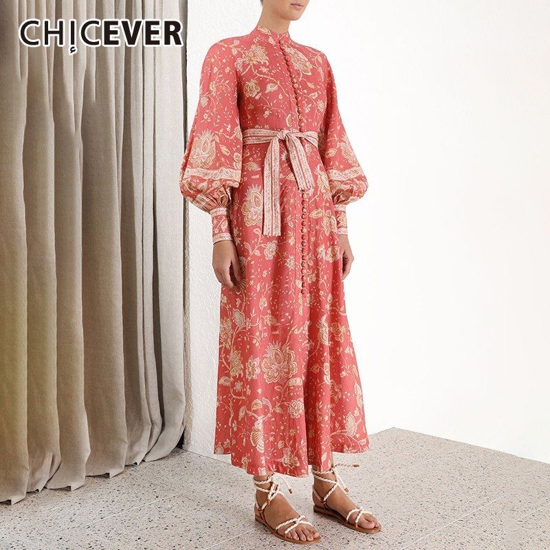 CHICEVER Summer Vintage Print Red Dress For Women Stand Collar Lantern Sleeve High Waist Bandage Bow