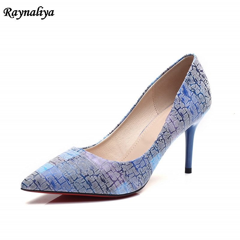 Brand Fashion Office High Heels Shoes Women Pumps Mixed Cloth Sexy Thin Heel Pointed Toe Blue Shoes Big Size ZGS-B0027