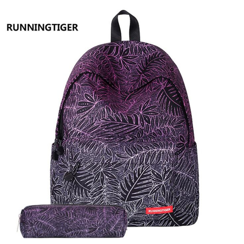 New Fashion Printing Women Backpack Girls School Bags Laptop Backpack With Pencil Case rugtas mochila escolar