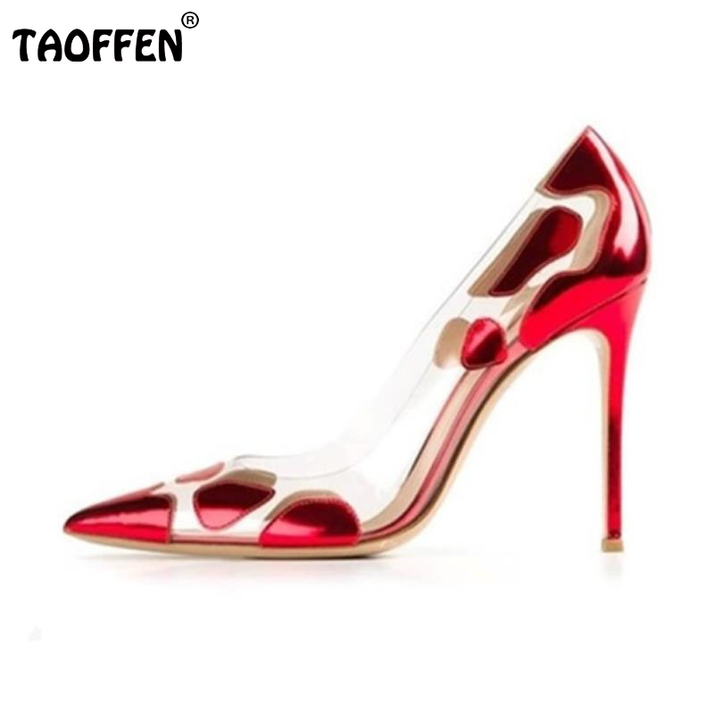 TAOFFEN Size 33-43 Women Pumps Women Shoes Women High Heeled Pumps Pointed Toe Thin Heels Office Lady Casual Party Footwear lady big size 4 15 elegant summer glitter buckle strap soft pointed toe thin high heeled sandals shoes women pumps 5colors girls