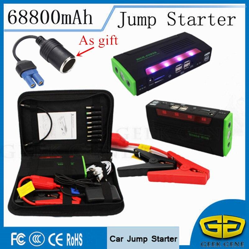 68800 мАч автомобиля Пусковые устройства Портативный легче 4USB Запасные Аккумуляторы для телефонов автомобиля Зарядное устройство для автомобиля Батарея Booster пусковое устройство для бензин дизель
