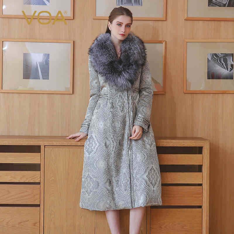 VOA Winter Luxury Fox Fur Long Coat MLX00701