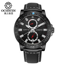 2016 Luxury Ochstin Men Sport Watches Genuine Leather Band Men's Wristwatch Chronograph Watch Mens Top Brand Relogio Masculino
