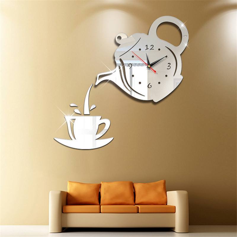 DIY Acrylic Coffee Cup Teapot Clock Wall Mirror Sticker Effect 3D Wall Clock Decorative Living Room Home Decor Wall Clock