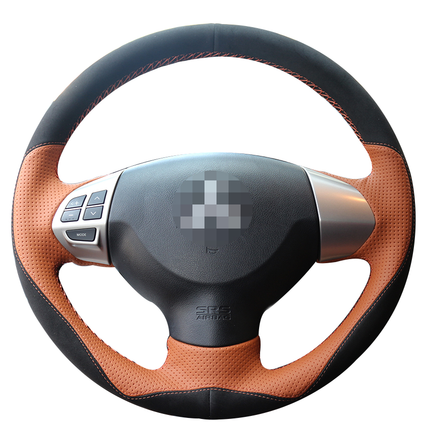 Black Suede Brown Leather Car Steering Wheel Cover for Mitsubishi Lancer EX Outlander ASX Colt Pajero