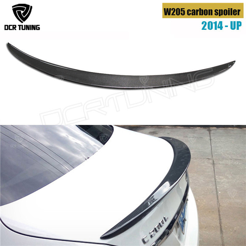 For Mercedes W205 Spoiler Carbon Fiber Rear Trunk Spoiler wing 2014 2015 2016 - UP C Class W205 C250 C200 C180 C260 4-Door Sedan for mercedes w205 carbon spoiler amg style coupe c class w205 c200 c300 c180 carbon fiber rear spoiler rear trunk wing 2014 up