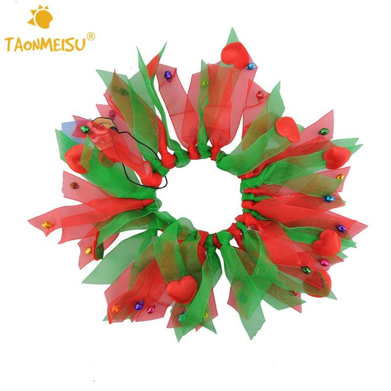 Kleurrijke Honden Halsband met Bell Kerst Zijden Lint Halsbanden - Producten voor huisdieren - Foto 1
