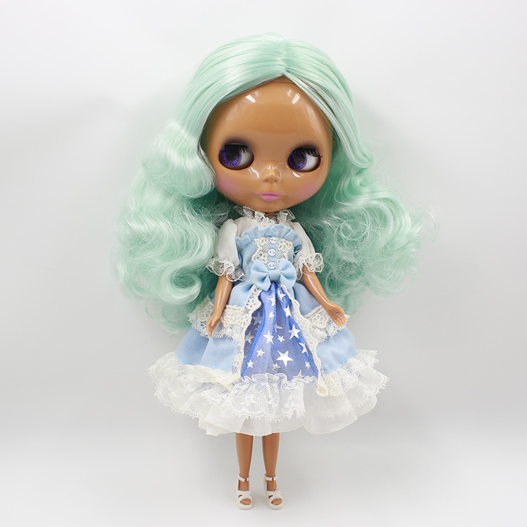 ФОТО 12 fashion dolls Bjd Nude Blyth doll DIY  light green Wavy long  hair toys baby dolls for girls