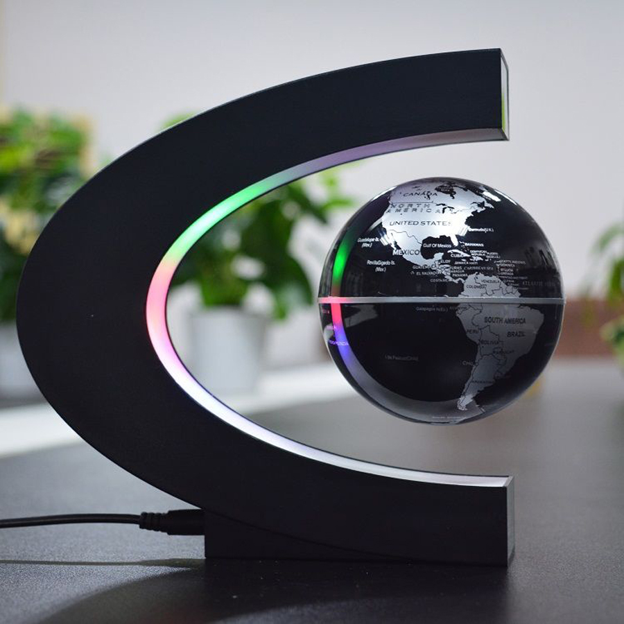 3 inch c shape electronic magnetic levitation floating globe world 3 inch c shape electronic magnetic levitation floating globe world map with led lights birthday gift home decoration 2017 new in figurines miniatures from gumiabroncs Images