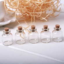 5pcs/Lot Cork Stopper Small Glass Bottle Tiny Glass Jars with Cork Decorative Wish Glass Jars Vials for Decoration 22x28mm MD686