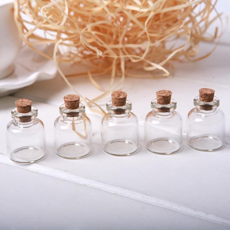 5pcslot cork stopper small glass bottle tiny glass jars with cork decorative wish glass - Decorative Glass Jars