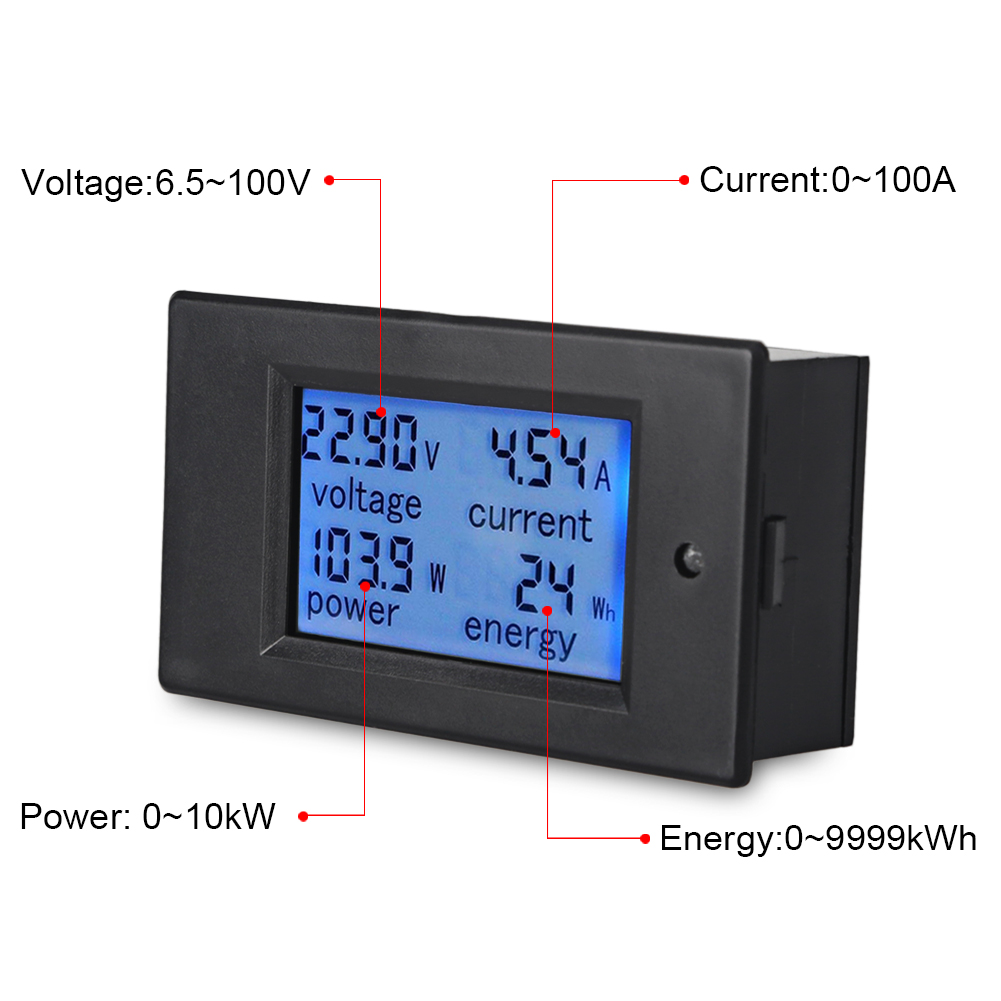 Urbanroad LCD Digital Display Ammeter Voltmeter DC6.5-100V 0-100A Multimeter Volt Watt Power Energy Meter With 100A/75mV Shunt