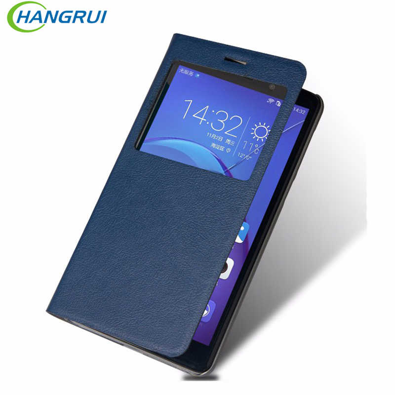 Hangrui For Huawei Honor 6X Case flip leather PU Smart View Window Auto Sleep Case Cover For Huawei Mate 9 Lite case capa fundas