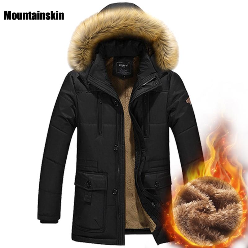 Moutainskin 4xl зима Для мужчин; хлопковые пиджаки Мех животных с капюшоном съемный длинный мужской Повседневные куртки флис толстый теплый бренд...