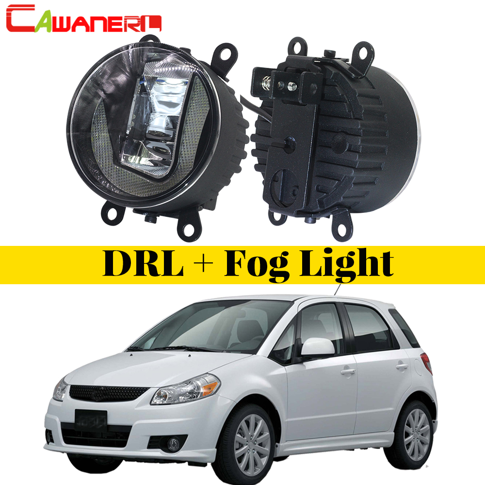 Cawanerl 2 X Car Styling LED Bulb Fog Light Daytime Running Lamp DRL White High Bright For Suzuki SX4 (EY, GY) 2006-2014 cawanerl for 2006 2014 suzuki sx4 ey gy car styling led fog light lamp angel eye daytime running light drl 12v 2 pieces