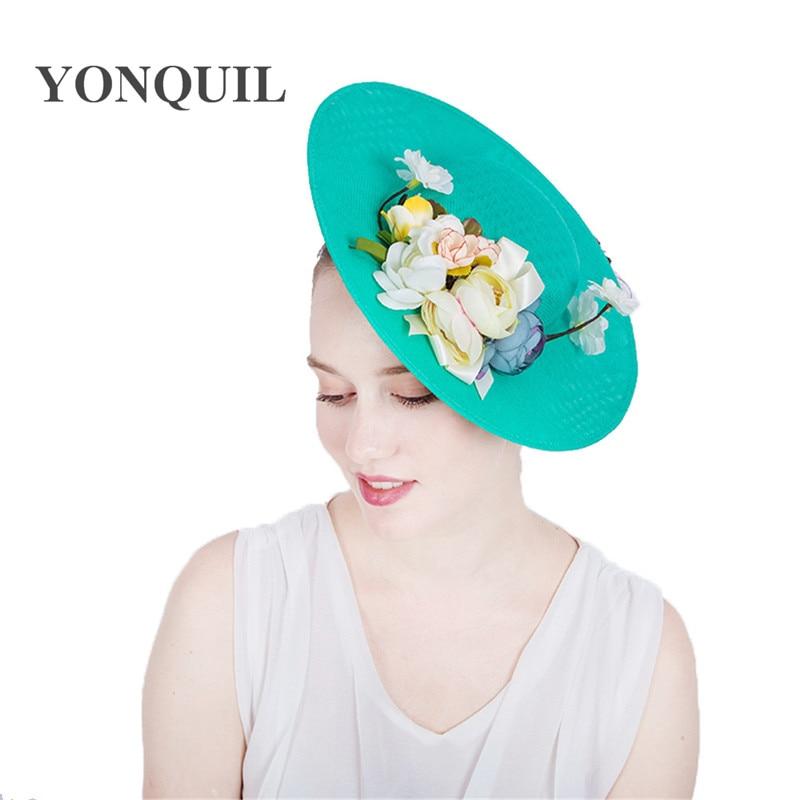 Women Imitation Sinamay Fascinator Hats With Silk Flower Kentucky Derby Wedding Cocktail Church Hairclips 30CM Big Size Headwear