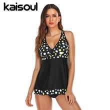Swimwear Sexy Bikini Two Pieces Women Swimsuit Push Up Print Swimming Beachwear New Arrival Vintage Padded Dots Black Yellow стоимость