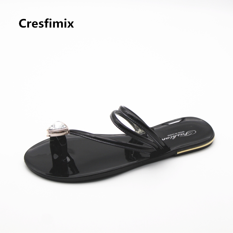 Cresfimix sandalias de mujer women cute high quality jelly sandals lady fashion crystal summer sandals lady soft flip flops cresfimix sandalias de mujer women fashion black beach flat sandals lady cute solid comfortable plus size sandals with crystal