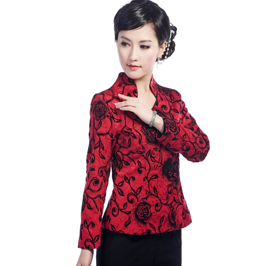 China first wholesale store Hot Sale Black Red Chinese Women's Satin Jacket Print Tang Suit Traditional Button Floral Coat Size S M L XL XXL XXXL