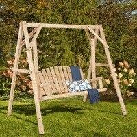 Giantex деревенский деревянные качели Bench W/ кадр стоять набор натуральный садовая мебель новая мебель OP3701