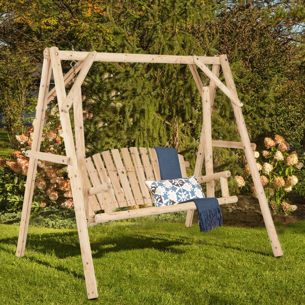 Giantex Rustic Wooden Porch Swing Bench W/A-Frame Stand Set Natural Garden Furniture NEW Outdoor Furniture OP3701