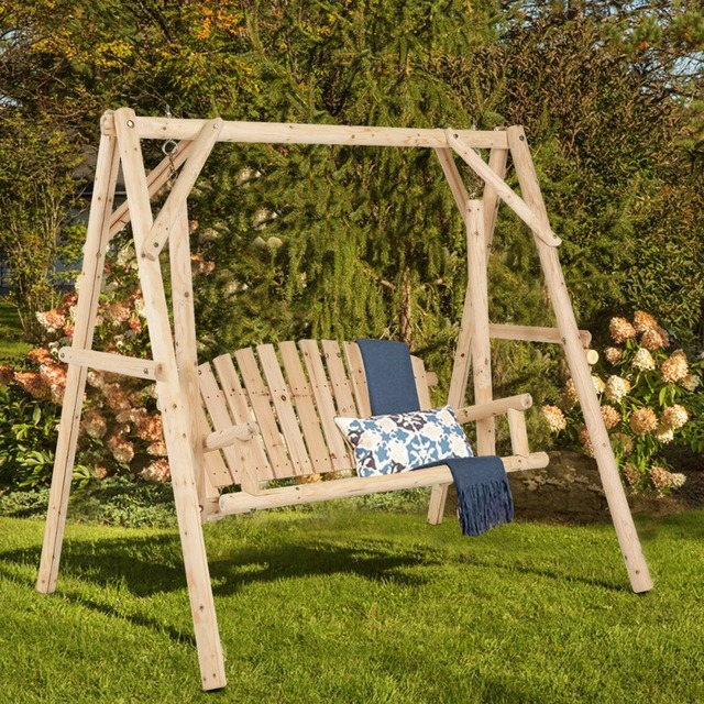 Giantex Rustic Wooden Porch Swing Bench W A Frame Stand Set Natural Garden Furniture New Outdoor Op3701