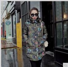 Free Shipping Womens Cotton Padded Printed Hooded Jackets Long Setion Parkas Casual Cotton Coats Camouflage Parkas Clothes J1675