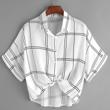 Loose Button Down Checked Shirt Summer Blouse Cardigan White Striped Women Tops 2019 Crop Top