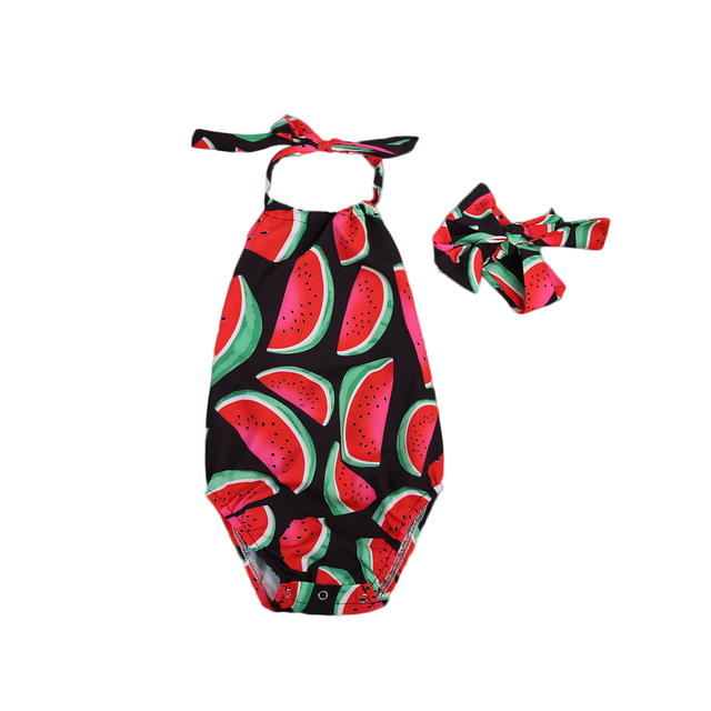 9aed2491fdca Newborn Kids Baby Girls Watermelon Sleeveless Halter Romper Jumpsuit Outfit  Sunsuit Clothes With Headband 0-24M